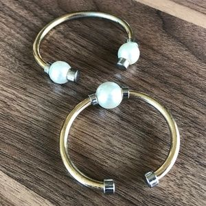 Ann Taylor Bracelet Set of 2 Gold Pearl